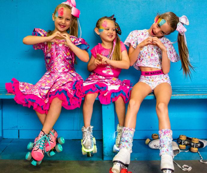 Three little girls in Jojo Siwa fashion