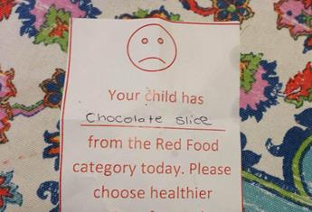 Mother shamed by kindy for packing chocolate slice in kid's lunchbox