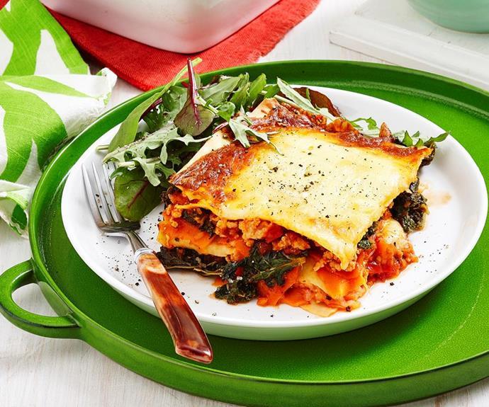 Chicken and sweet potato lasagne