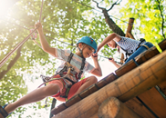 School camp checklist. Children on high ropes course.