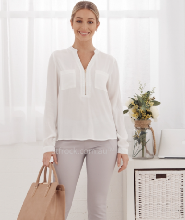 Zip down tops are a stylish option