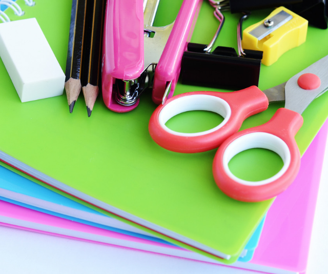 Colourful school stationery supplies for back to school.