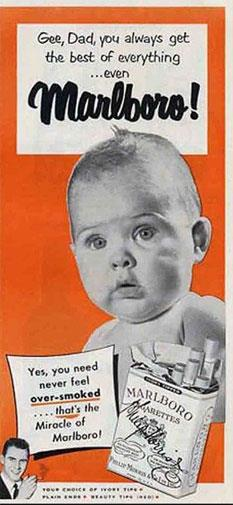 Babies selling cigarettes.