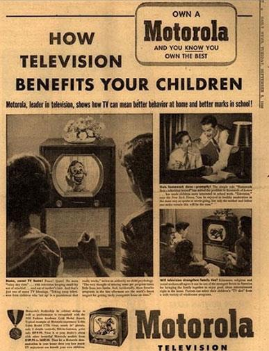 'TV can improve marks!' Today's kids would probably appeciate this ad campaign.
