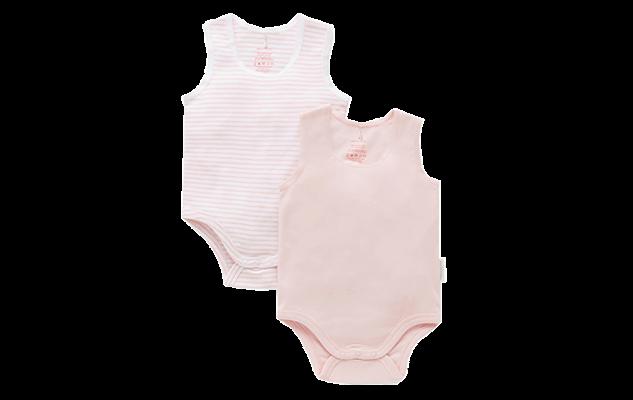 Purebaby 2 pack rib singlet bodysuit