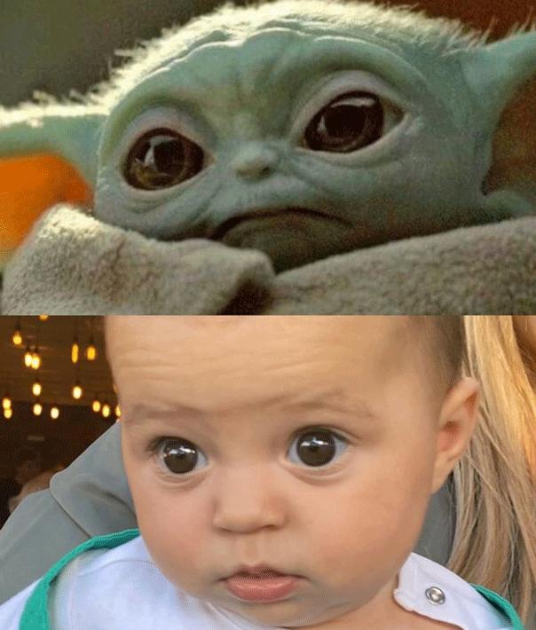 Sam and Snezana joke baby Charlie Lane looks like baby Yoda.