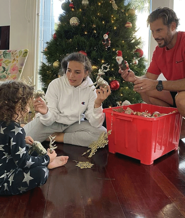 Sam Wood Christmas 2019 with daughters Eve and Willow.
