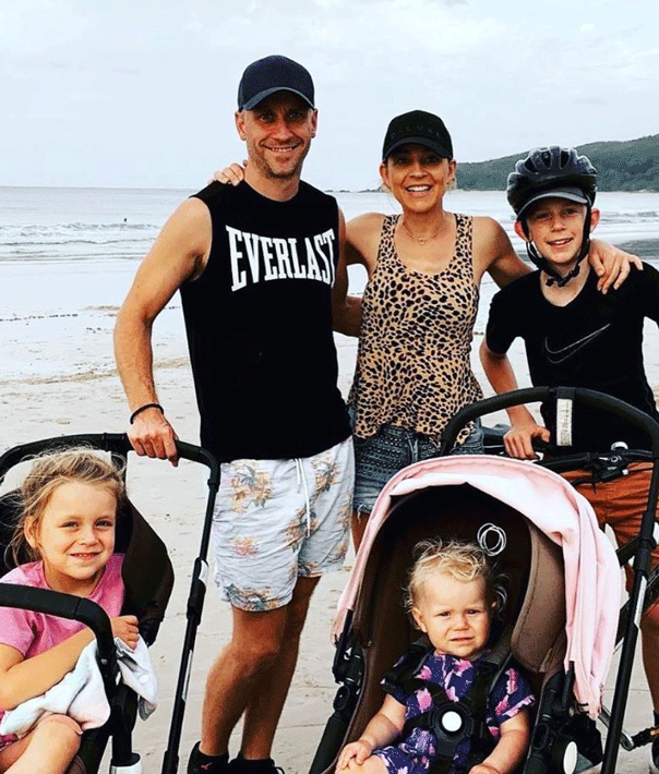 Carrie Bickmore with family, bugaboo pram