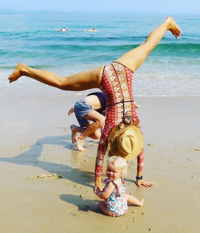 Carrie Bickmore, beach, family, cartwheel