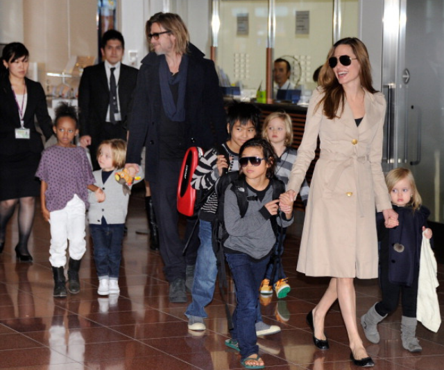 Brad Pitt, Angelina Jolie and kids