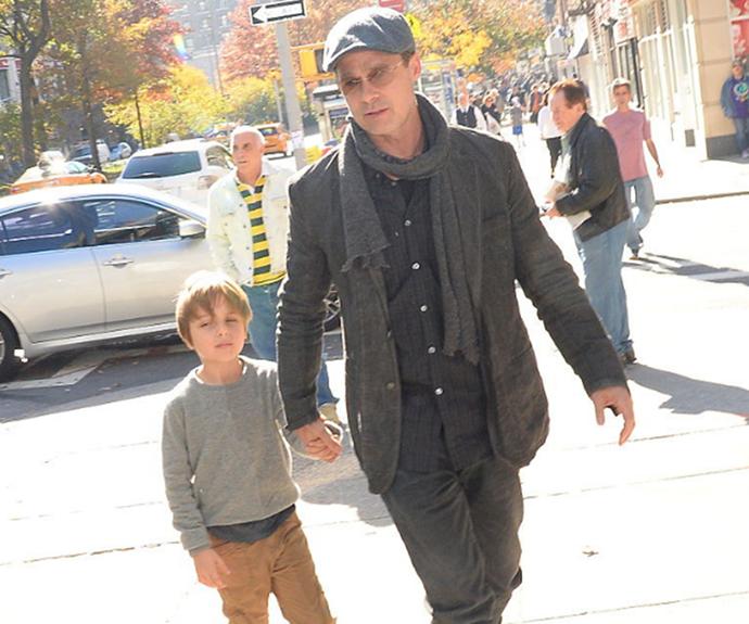 Knox Leon Jolie-Pitt and Brad Pitt