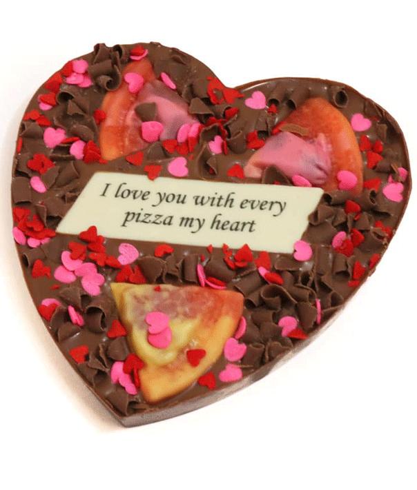 Chocolate pizza heart