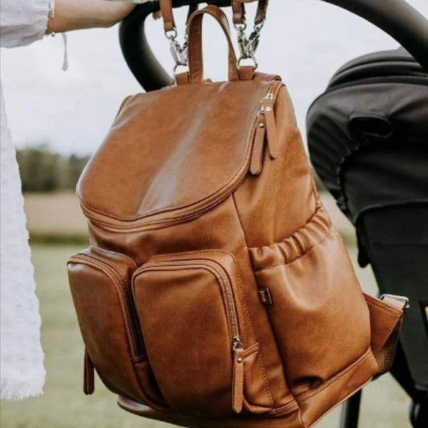 OiOi Tan Faux Leather Nappy Backpack