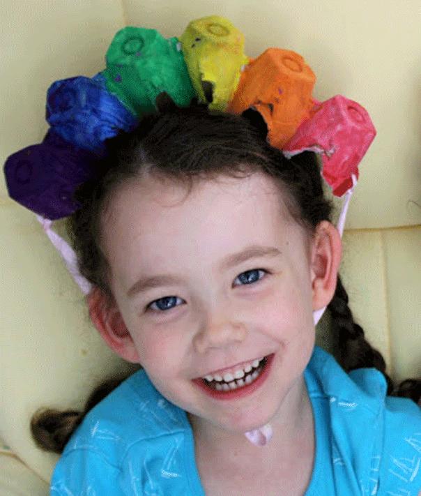 Rainbow egg carton headband