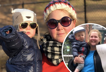 Amy Schumer and son hold up the sweetest handwritten sign while visiting her dad at a social distance