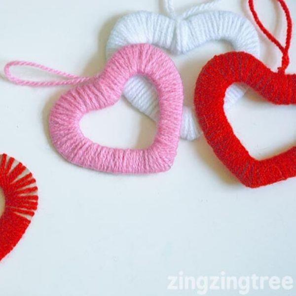 easy wool heart wreaths