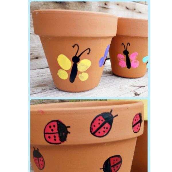 thumb print flower pots