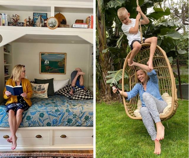 Reese Witherspoon WFH/Homeschooling with 7yo son, Tennessee