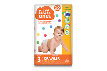 Little One's Crawler Nappies 56pk