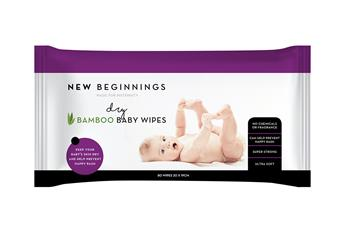 New Beginnings Bamboo Dry Wipes 80s