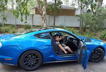 REAL LIFE: 10-year-old car designer's dream comes true behind the wheel of a Mustang