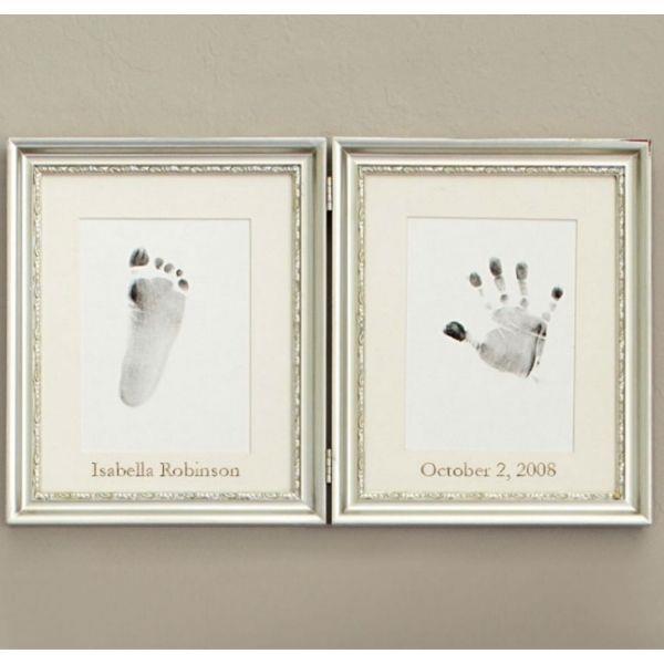 Silver Leaf Handprint and Footprint Frame