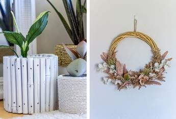 Mother's Day craft gifts: How to make a luxe, boho-style pot plant holder and wreath