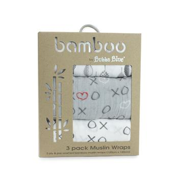 Silver Mist Bamboo 3pk Muslin Swaddle Wraps