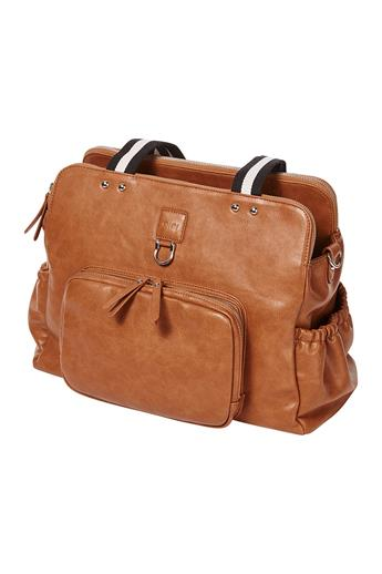 Faux Leather Tote Triple Compartment Nappy Bag – Tan