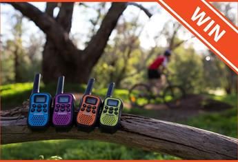 WIN 1 of 5 Uniden UHF Walkie Talkies with Kid Zone – Quad Colour Pack