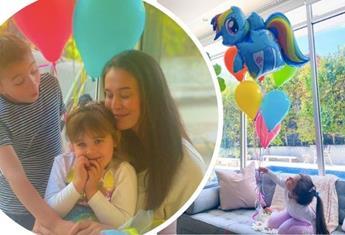 Megan Gale bakes an impressive unicorn rainbow cake to celebrate her daughter's 4th birthday